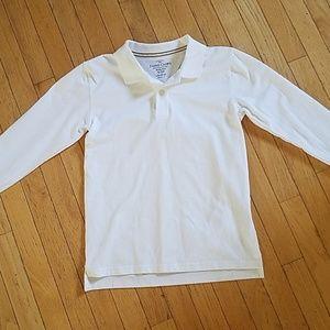 Boys Size 10-12 Large White Polo Shirt